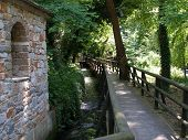 foto of stonewalled  - A wooden bridge in the woods near a stonewall.