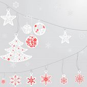 foto of premises  - silver cristmas balls and fir tree with snowflake on silver background - JPG