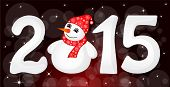 image of snowman  - Happy New Year 2015 From Snow With Snowman and Santa Hat - JPG