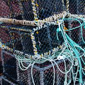 image of lobster boat  - Closeup on Lobster pots on the dock England