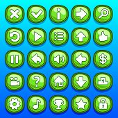 stock photo of arcade  - Game green interface cartoon ui buttons set - JPG