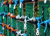 picture of lobster boat  - Closeup on Lobster pots on the dock England