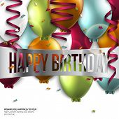 image of helium  - Vector birthday card with balloons and birthday text - JPG