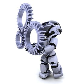 picture of mechanical engineer  - 3d Render of a robot with gear mechanism - JPG