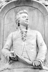 image of mozart  - Architectural detail of the monument to Mozart  - JPG