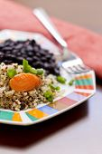 image of scallion  - Healthy nutty Quinoa and Carrot Salad and scallions with black beans  - JPG