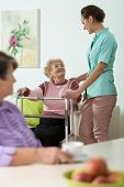 picture of nursing  - Vertical view of nurse helping disabled woman - JPG