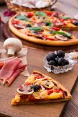 pic of hot fresh pizza  - Delicious fresh pizza with seafood - JPG