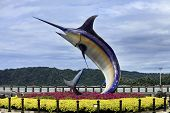 image of swordfish  - Monument swordfish is one of the most amazing sights in the city of Kota Kinabalu - JPG