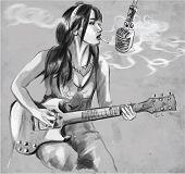 image of smoking woman  - An hand drawn vector illustration - JPG