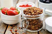 stock photo of yogurt  - granola with yogurt nuts goji berries and strawberries - JPG