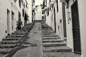 foto of costa blanca  - Narrow old town street in Altea Costa Blanca Spain - JPG