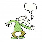 picture of goblin  - cartoon goblin with speech bubble - JPG
