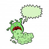 foto of grossed out  - cartoon gross monster being sick with speech bubble - JPG