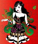 stock photo of moulin rouge  - art vector illustration of a beautiful and elegant girl on a red background - JPG