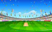 foto of cricket  - illustration of stadium of cricket showing flags of participating countries - JPG
