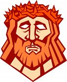 stock photo of crown-of-thorns  - Illustration of Jesus Christ face with crown of thorns set on isolated white background done in retro style - JPG