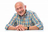 foto of single man  - Portrait of a happy senior man smiling isolated on white - JPG