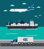 foto of air transport  - Flat design of cargo transportation sea air land illustration vector - JPG