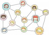foto of stickman  - Stickman Illustration of a Relationship Graph Showing a Social Network of Kids - JPG