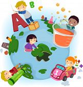 stock photo of stickman  - Stickman Illustration of Kids Doing Common Activities at School - JPG