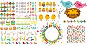 stock photo of easter eggs bunny  - Big easter set with collection of eggs - JPG