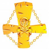stock photo of skull cross bones  - Golden cross with skull on white background - JPG