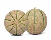picture of cantaloupe  - cantaloupe melons isolated on a white background - JPG