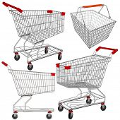 stock photo of supermarket  - Vector supermarket carts and baskets - JPG
