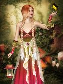 picture of fairy-mushroom  - Dreamy Fairy in a forest glade with a lantern and butterfly - JPG