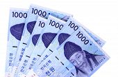 picture of won  - Several Korean 1000 Won currency bills isolated on a white background - JPG