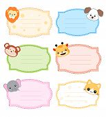 picture of cute animal face  - Colorful kids name tags  - JPG