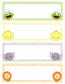 stock photo of cute animal face  - Cute animal kids name tags with beautiful animal faces on corners - JPG