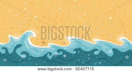 poster of Horizontally tiling border creating a distressed seamless pattern of sand and water waves and bubble