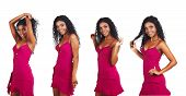 foto of black curly hair  - beautiful African woman with long curly hair dancing in short pink summer dress - JPG