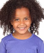 pic of afro hair  - Adorable african little girl with beautiful hairstyle isolated over white - JPG