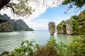 picture of james bond island  - High angle view beautiful landscape sea and sky at view point of Khao Tapu or James Bond Island in Ao Phang Nga Bay National Park Thailand - JPG