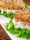 foto of whole-grain  - Healthy tuna sandwich with whole grains bread - JPG