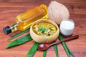 foto of thai cuisine  - Green pork Curry and Coconut - JPG