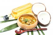 image of thai cuisine  - Green pork Curry and Coconut and coconut milk - JPG