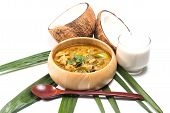 picture of thai cuisine  - Green pork Curry and Coconut and coconut milk - JPG