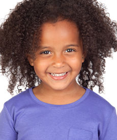 foto of afro hair  - Adorable african little girl with beautiful hairstyle isolated over white - JPG