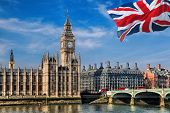 Big Ben With Flag Of United Kingdom In London, Uk poster