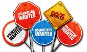 volunteers wanted, 3D rendering, rough street sign collection poster