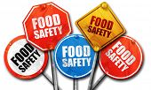 food safety, 3D rendering, rough street sign collection poster