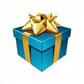 Постер, плакат: Синий подарок с Золотой лук векторные иллюстрации EPS 10