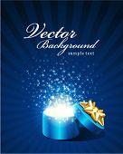 Постер, плакат: Открыть исследовать подарок с мухой звёзд Векторный фон