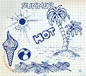 pic of summer fun  - Summer doodle elements  - JPG