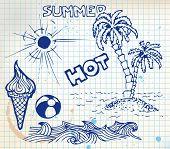 foto of summer fun  - Summer doodle elements  - JPG