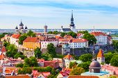 View From Tower Of Saint Olaf Church On Old City Of Tallinn And Roofs Of Old Houses. Tallinn, Estoni poster